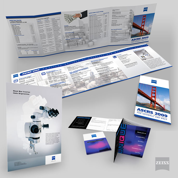 Zeiss Full Page Ad, Events Booklets and Tri-Fold Invitation