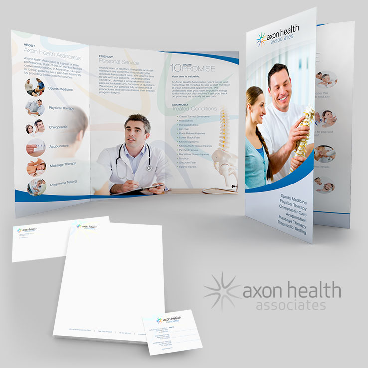 Axon Health Associates Tri-fold Brochure & Stationary