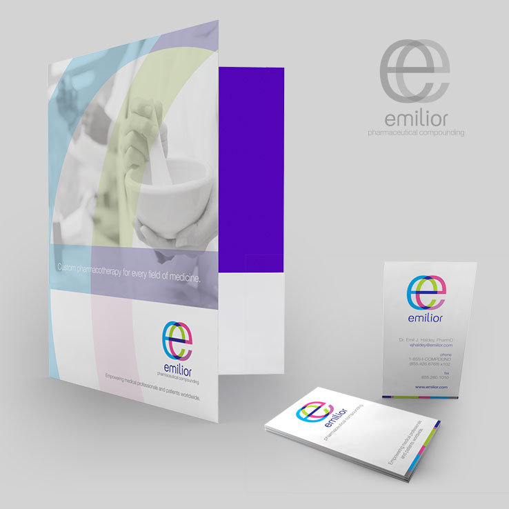 Emilior Pharmaceutical Compunding Folio and Business Cards